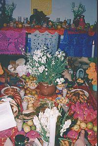 Ofrenda Día de Muertos en la Mixteca poblana, México