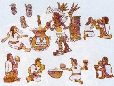 Aztecas bebiendo pulque Codice Florentino Bernardino de Sahagun precursor etnografia moderna