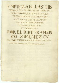 Primera pagina del Popol Vuh