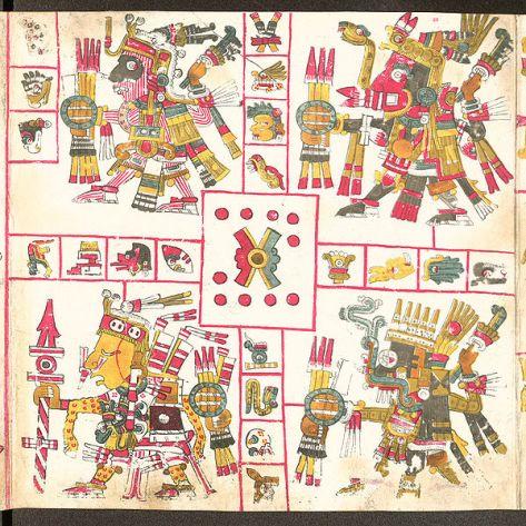 Codex_Borgia  Patrones de la Guerra Tláloc  Xiuhtecuhtli Mixcóatl  Xipetótec