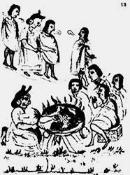 La india vieja tostando el maíz Códice Florentino, III  figura 13
