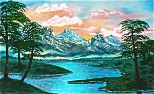 Montañas, pinares, arroyos Oleo de SER