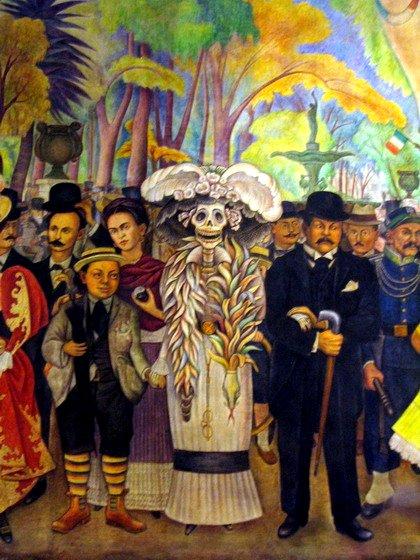 Detalle del mural Sueño de una tarde dominical en la Alameda Central a la izquierda de La Catrina,Diego Rivera niño y Frida Kahlo a la derecha José Guadalupe Posada foto momo