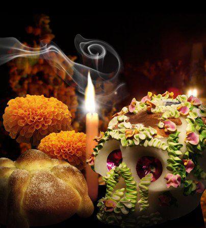 ofrenda dia de muertos calaverita vela pan de muerto