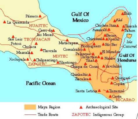 Mapa de la zona  maya