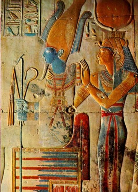 Osiris and Isis in the temple of Seti I at Abydos