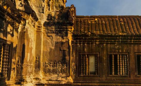 Esquina en exterior templo Angkor Wat Cambodia
