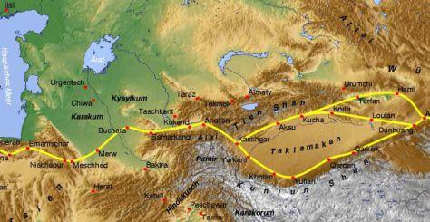Ruta Seda pasajes Norte y Sur alrededor desierto Taklamakan Benutzer Alexander stohr