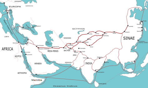 Transasia_trade_routes_1stC_CE_ routes remain largely valid for the period 520 BCE to 500 CE.