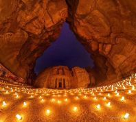 Petra at night under the light of hundreds candles