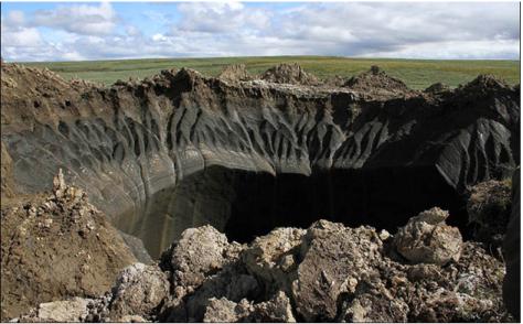 Dos cráteres aparecieron en la península de Yamal, en Siberia, Rusia Julio de 2014