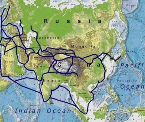 Mapa ruta de la seda tierra y mar