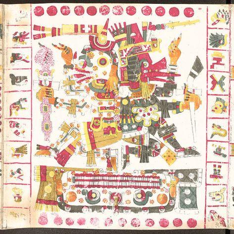 Mictlantecuhtli (1a) y Quetzalcóatl (1b),  simbolizan la  muerte y la vida Códice Borgia