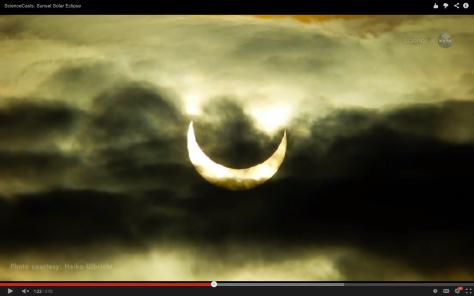eclipse parcial de Sol nubes