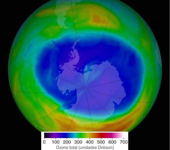Concentracion de ozono Antartida NASA
