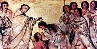 frailes evangelizan y bautizan a los naturales de Mesoamerica