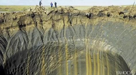 tamaño de un cráter en Siberia