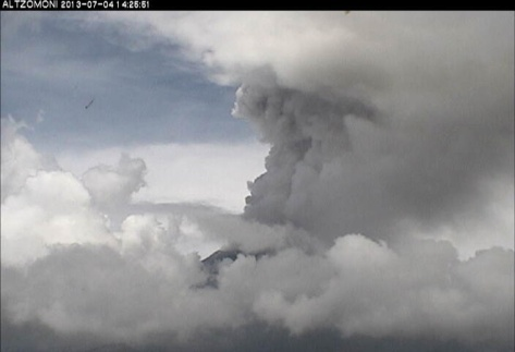 erupcion del Popocatepetl y nubes