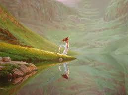mujer sola lago